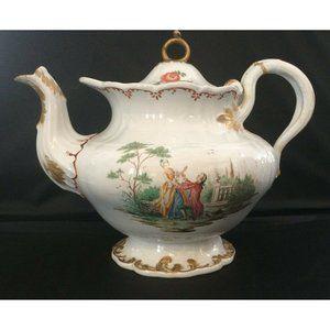 Antique Victorian Creamware Soft Paste Tea Pot